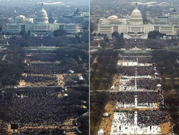 Comparan asistencia de personas a Inauguración de Trump vs Obama