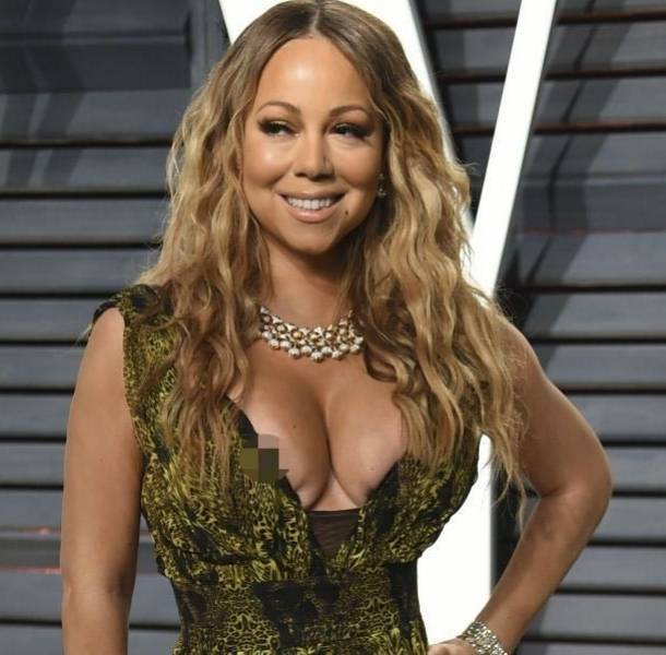 Mariah Carey enseña de más en fiesta de los Premios Oscar