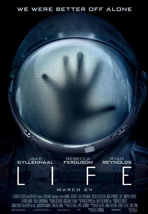 Póster de la película Life protagonizada por Ryan Reynolds y Jake Gyllenhaal