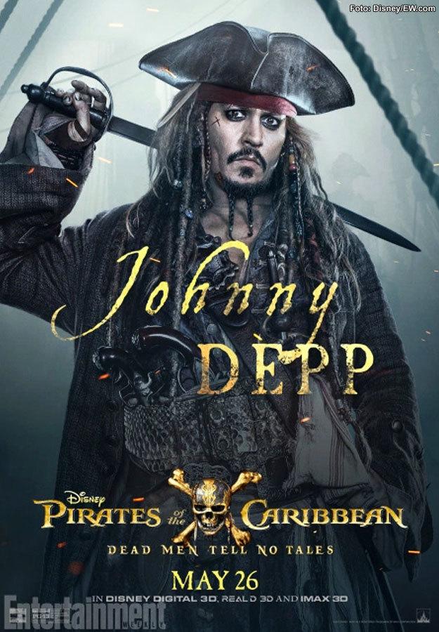 Póster de Johnny Depp como Jack Sparrow en Piratas del Caribe: La Venganza de Salazar