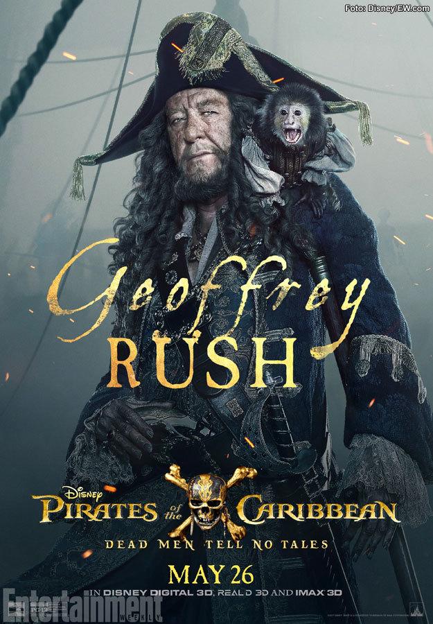 Geoffrey Rush como el Capitán Barbossa en Piratas del Caribe: La Venganza de Salazar
