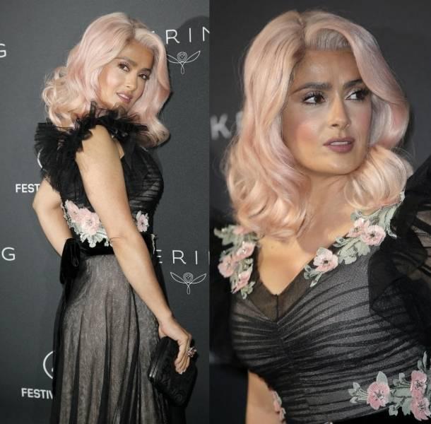 Salma Hayek lució cabello rosa en el Festival de Cannes