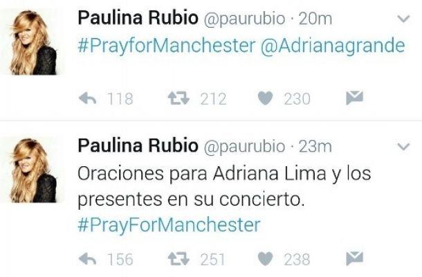 Paulina Rubio confunde a Ariana Grande con Adriana Lima