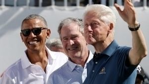 Expresidentes se reúnen en pro de víctimas de huracanes
