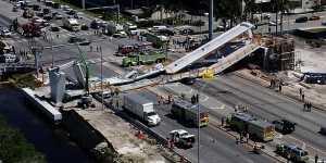 Captan momento del derrumbe en puente de Miami