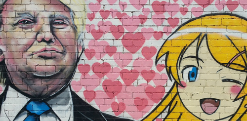 Estos graffitis les ponen waifus de anime a Trump y Putin